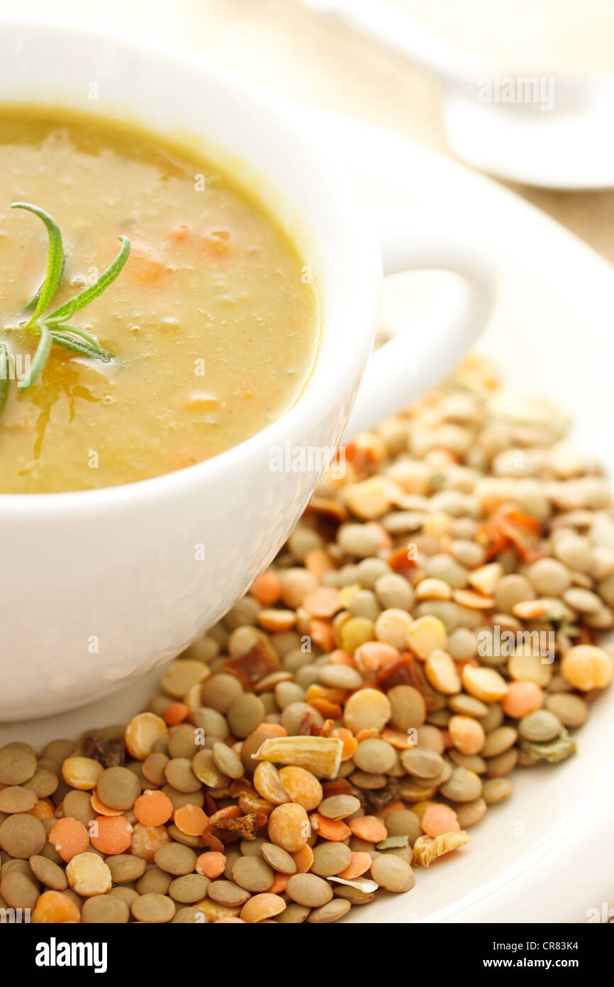 Hot Bowl of Lentil Soup with Dried Lentils for Decoration Stock Photo