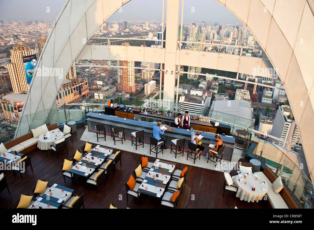 Thailand, Bangkok, Siam square district, the Red Sky Bar on the 55th floor of the Hotel Central World - Stock Image