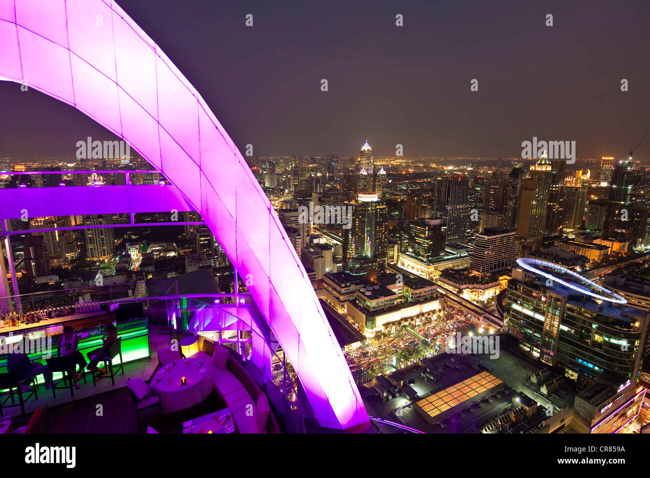 Thailand, Bangkok, Siam Square District, The Red Sky Bar at the 55th floor of the Central World Hotel Stock Photo