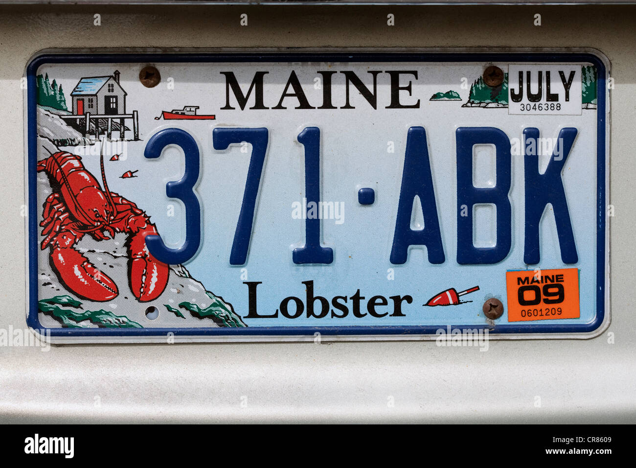 United States, New England, Maine, car registration with the drawing of a lobster - Stock Image
