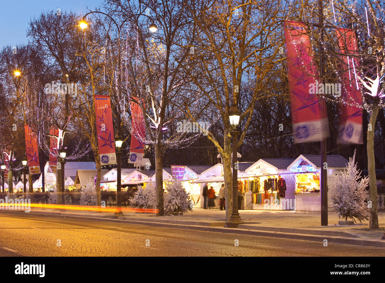 france paris the christmas market on the avenue des champs elysees stock image
