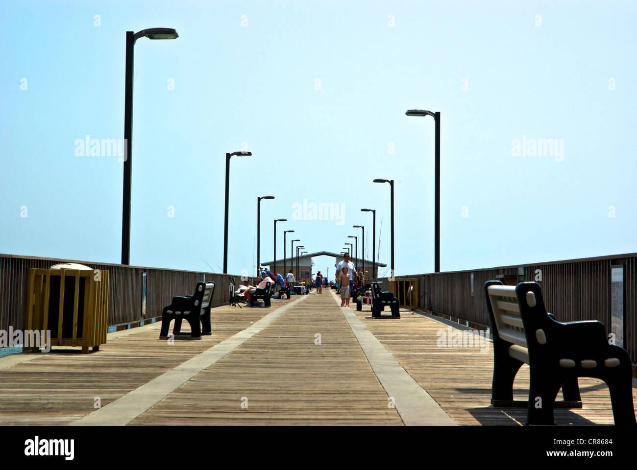 Gulf Shores Alabama State Park sport fishing pier Stock Photo