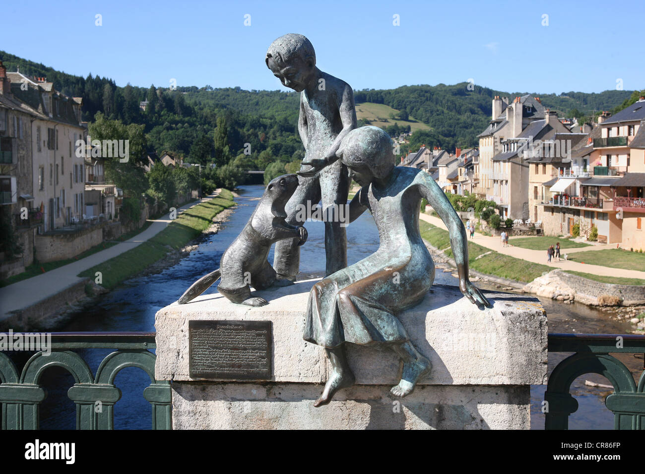 France, Aveyron, St Geniez d'Olt, the Marmots, by sculptor Eric Valat - Stock Image