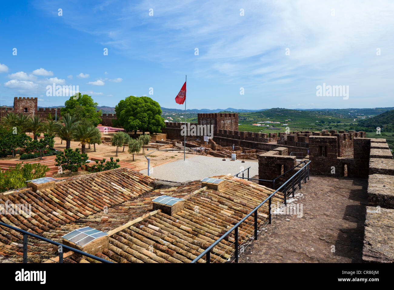 Walls of the Moorish Castle in the Old Town, Silves, Algarve, Portugal Stock Photo