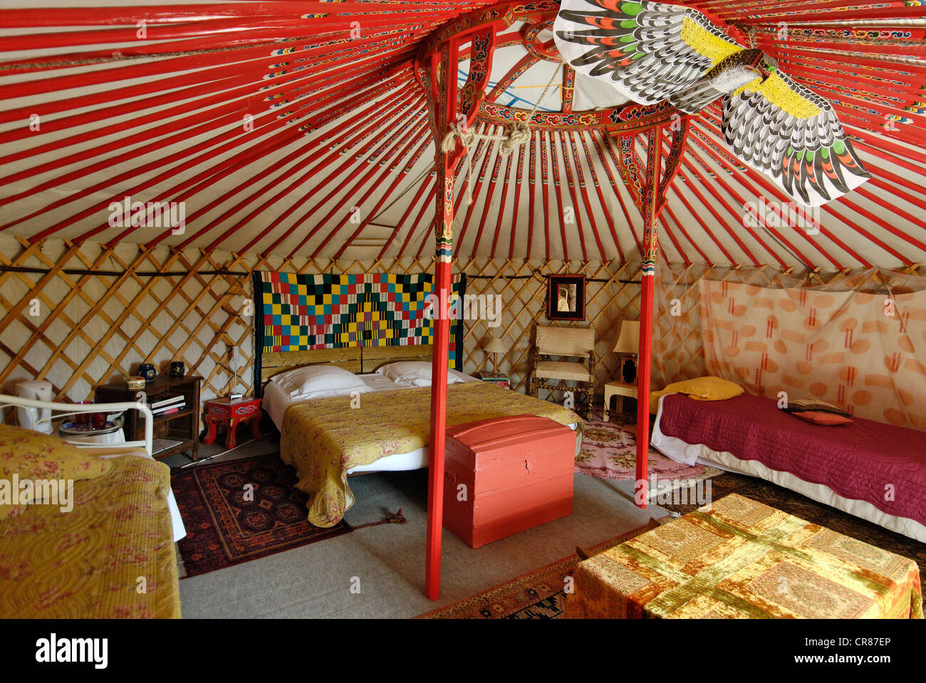 France, Gard, Barjac, Mongolian Yurt Camp At Mas Escombelle, Circular Tent  That Has Not Changed For Over A Thousand Years