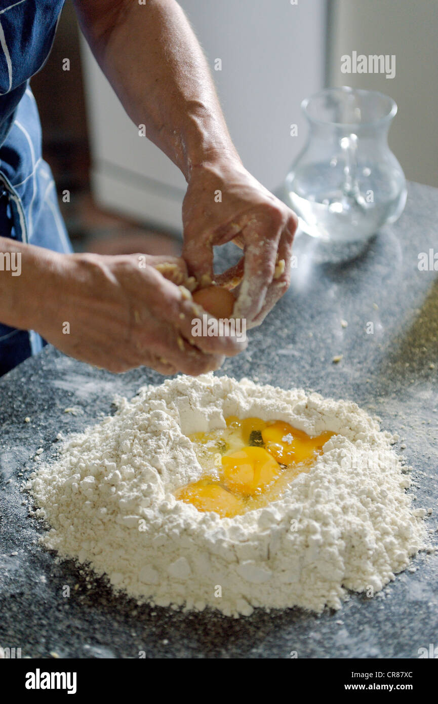 France, Gard, Barjac, Mas Escombelle, Provencal cooking classes for guests of Bed and Breakfast - Stock Image