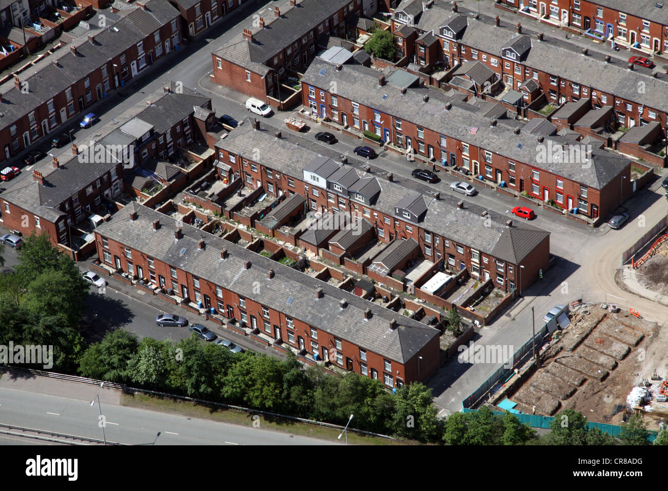aerial view of terraced housing in Oldham - Stock Image