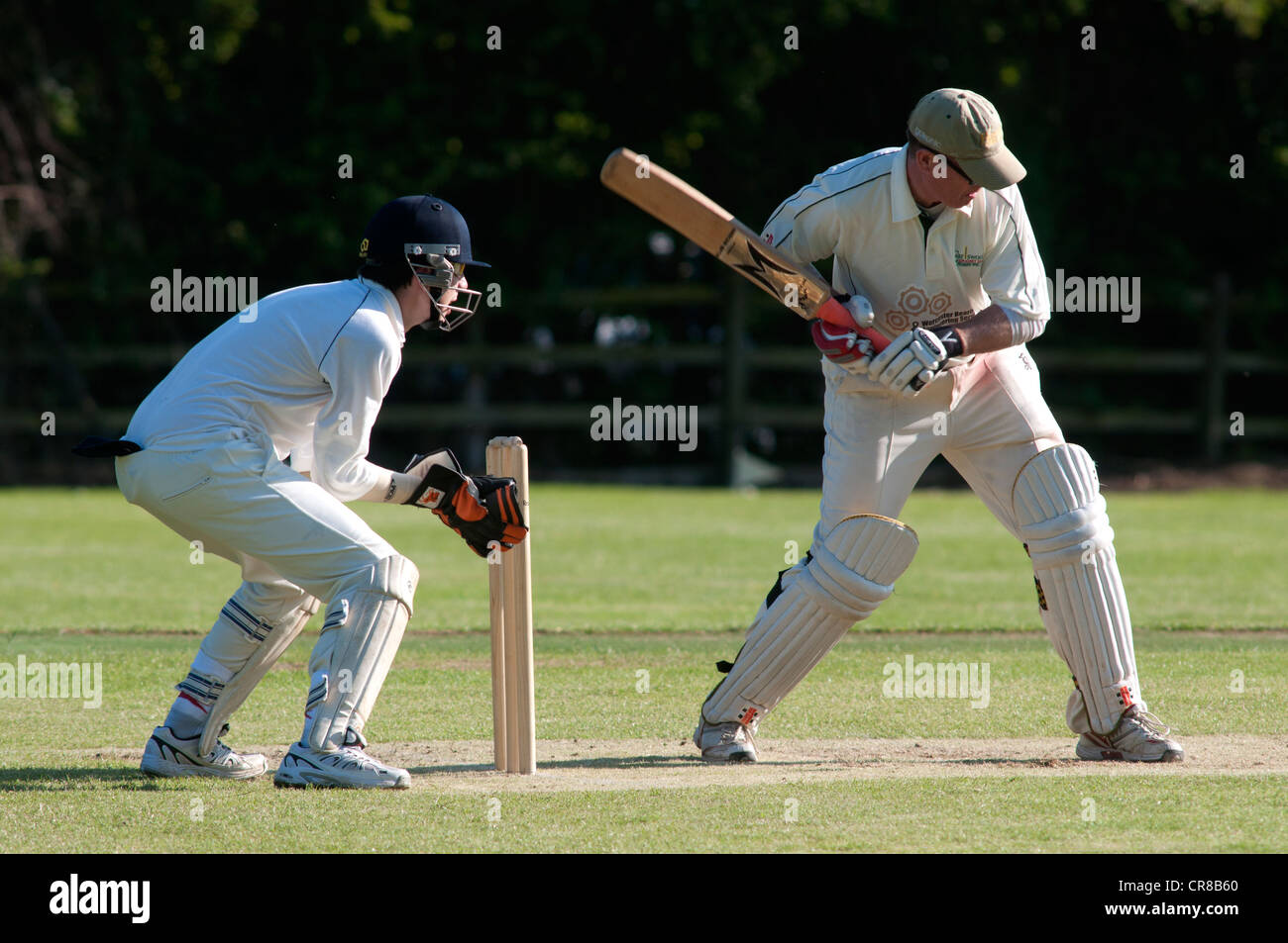 Village cricket at Great Alne - Stock Image