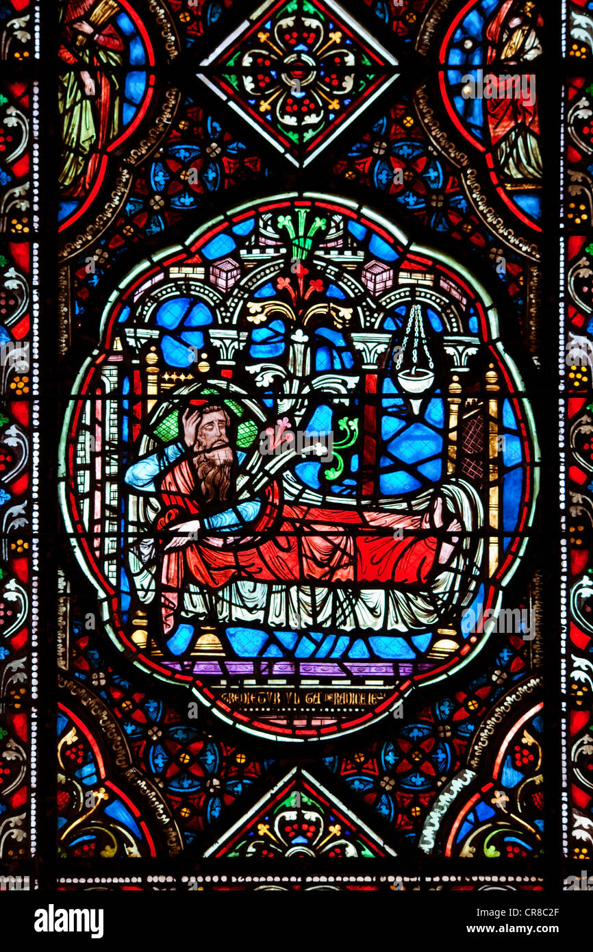 France, Manche, Coutances, the cathedral, stained glass window in the Circata Chapel - Stock Image