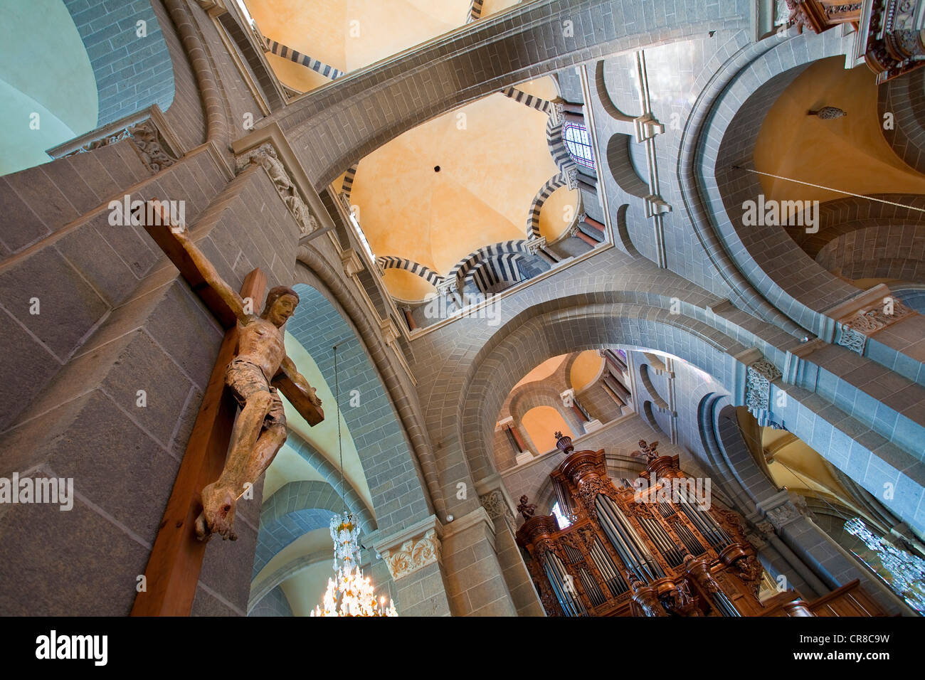 France, Haute Loire, Le Puy en Velay, stop on Route of Santiago de Compostela, UNESCO World Heritage, Notre Dame - Stock Image