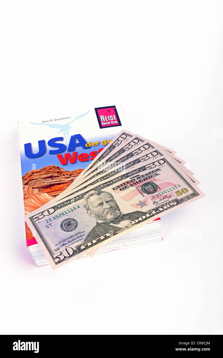 Several 50-dollar bills, travel guide of the USA, America Stock Photo