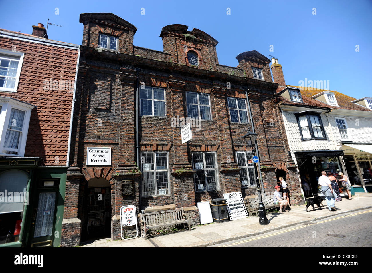 The Old Grammar School in Rye High Street now a record shop - Stock Image
