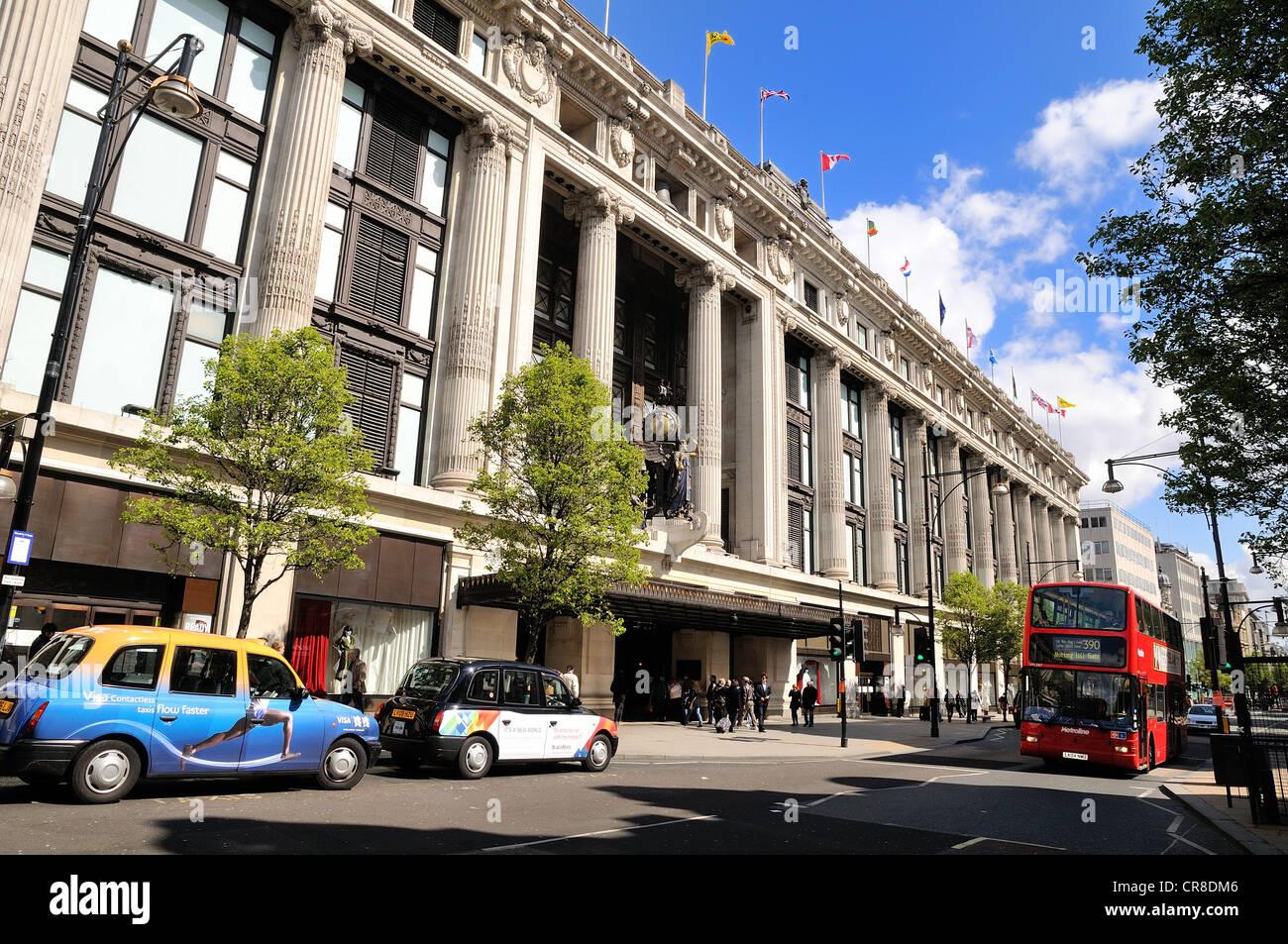 Front of Selfridges store Oxford Street London - Stock Image