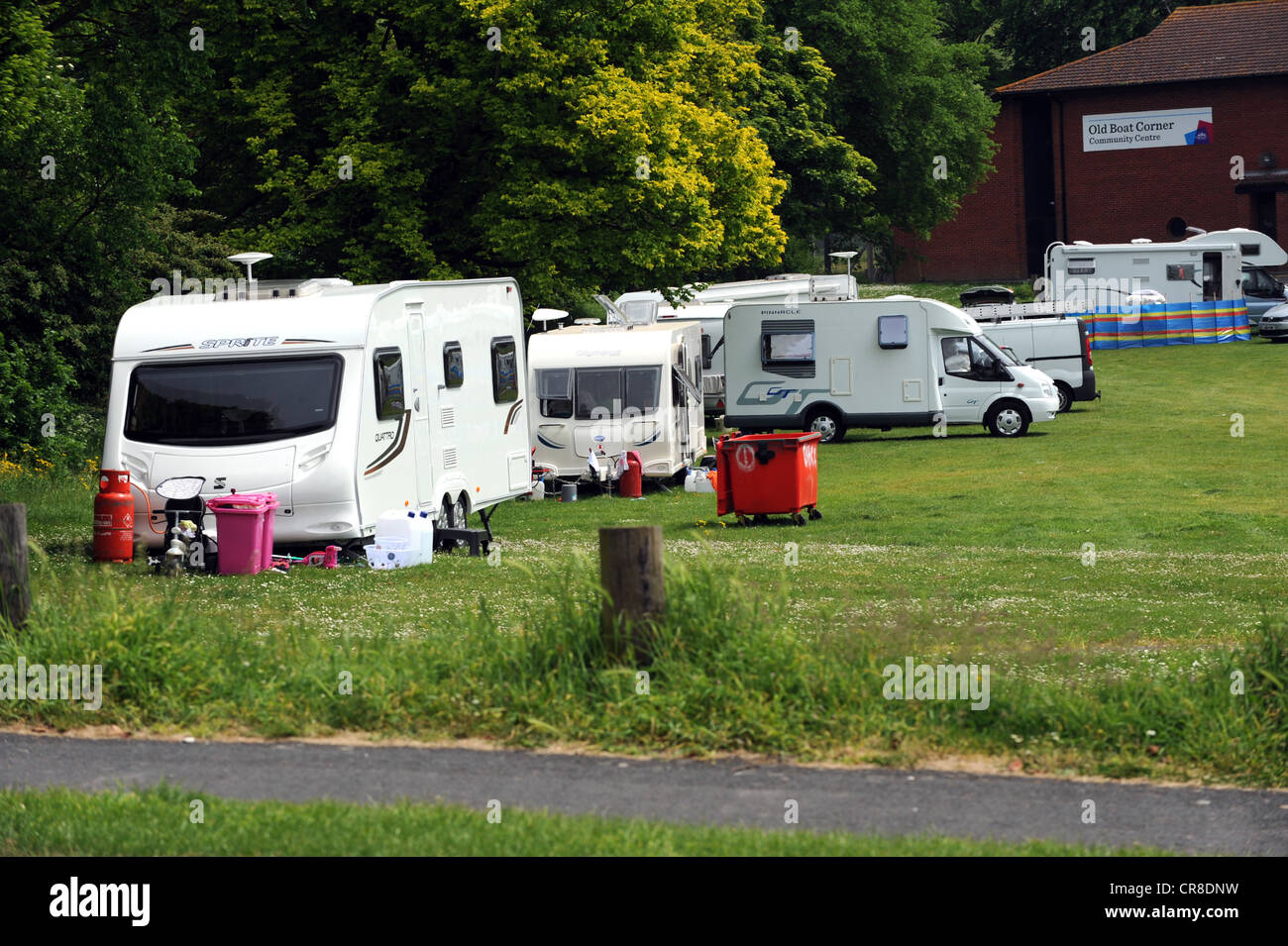 An illegal travellers camp up at Carden Park a bit of council owned land in Brighton Stock Photo