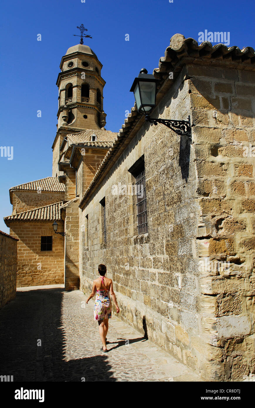 Spain, Andalusia, province of Jaen, Baeza, city UNESCO World Heritage, a narrow street of the historic center and - Stock Image