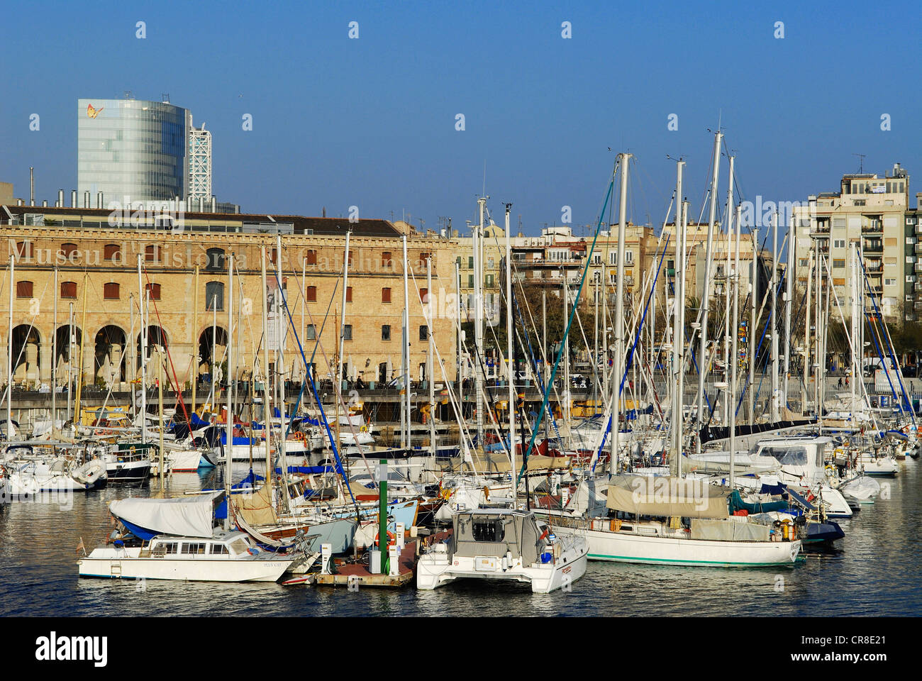 Spain, Catalonia, Barcelona, the Port Vell, the old harbour, with the Palau de Mar housing the museum of the History - Stock Image