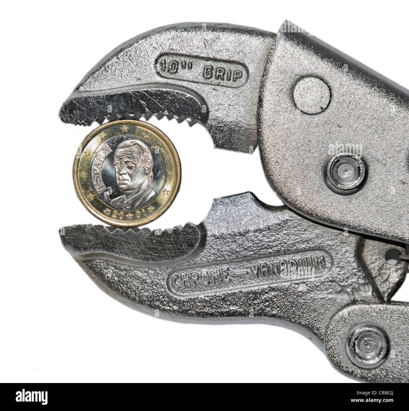 Spanish Euro Coin in a pair of Pliers - Stock Image