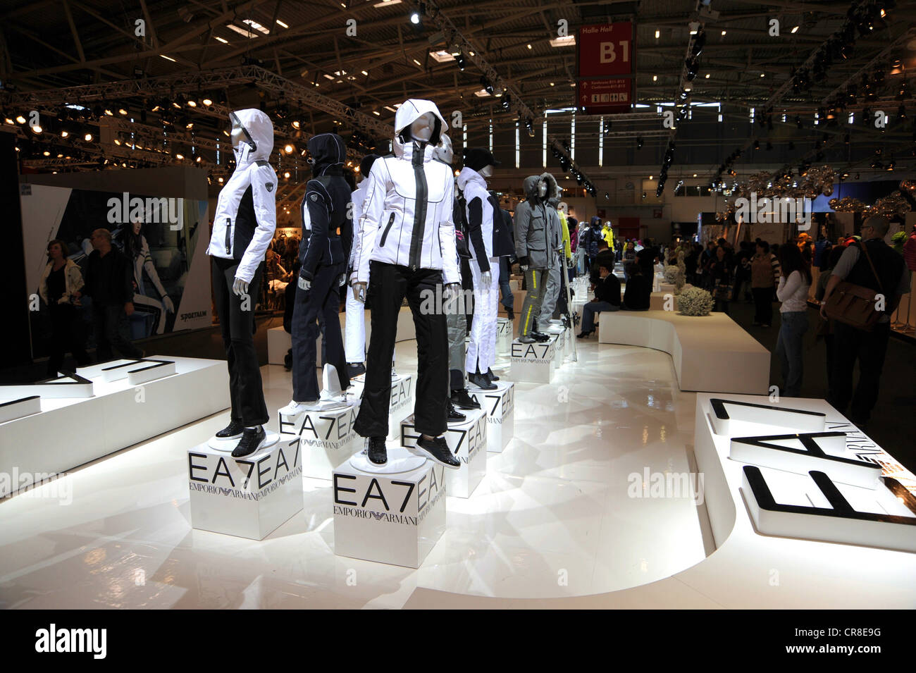 Exhibition booth of EA7 Emporio Armani, ISPO, International Sports Business Network, a trade fair for sports equipment - Stock Image