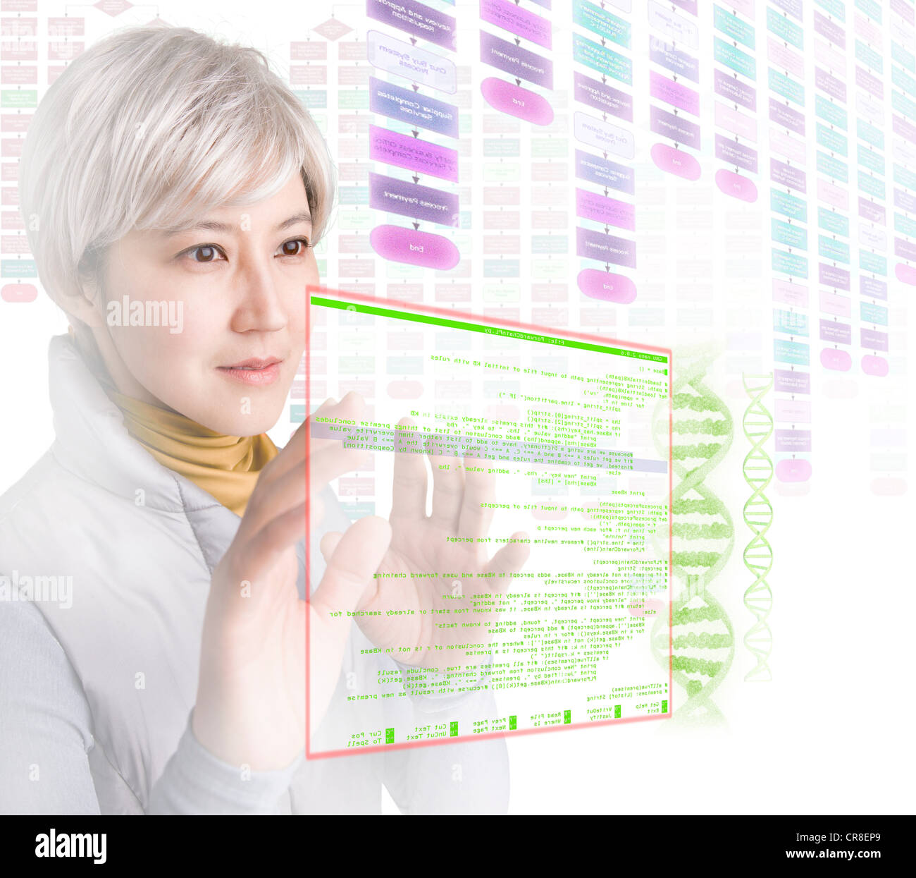 Woman interacting with holographic screens - Stock Image