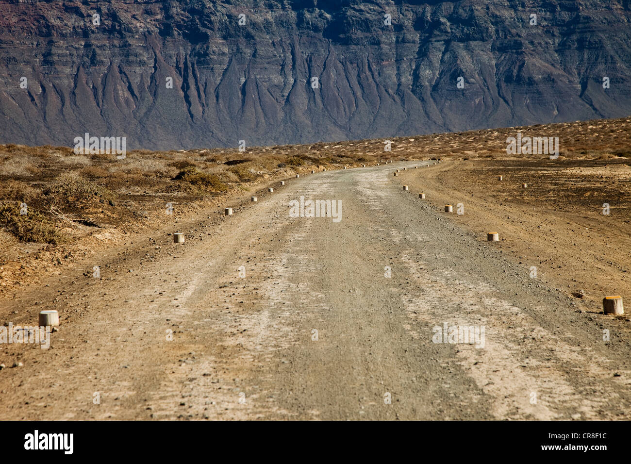 Dirt road, La Gracioca, Lanzarote, Spain - Stock Image