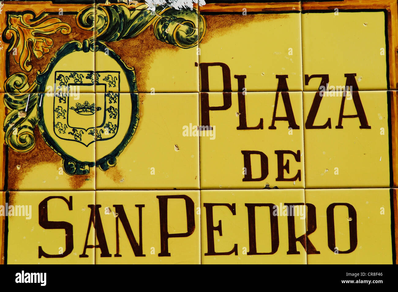 Spain, Andalusia, province of Jaen, Ubeda, city UNESCO World Heritage, sign for a square - Stock Image
