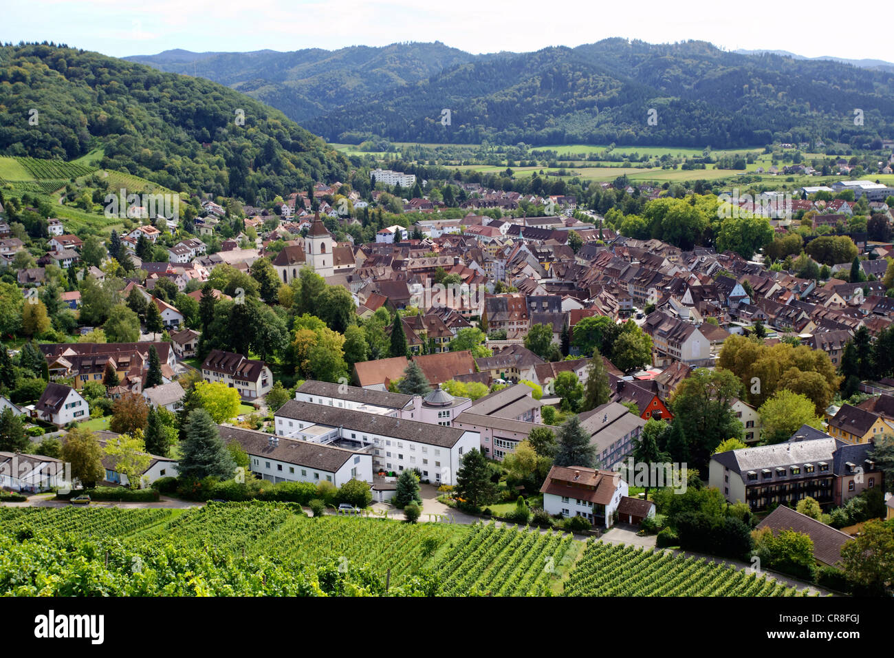 View of the medieval town centre of Staufen im Breisgau, southern Black Forest mountain range, Baden-Wuerttemberg - Stock Image