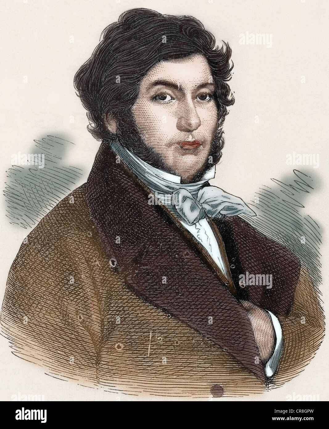 Jean-François Champollion (1790-1832). French classical scholar, decipherer of the Egyptian hieroglyphs. - Stock Image
