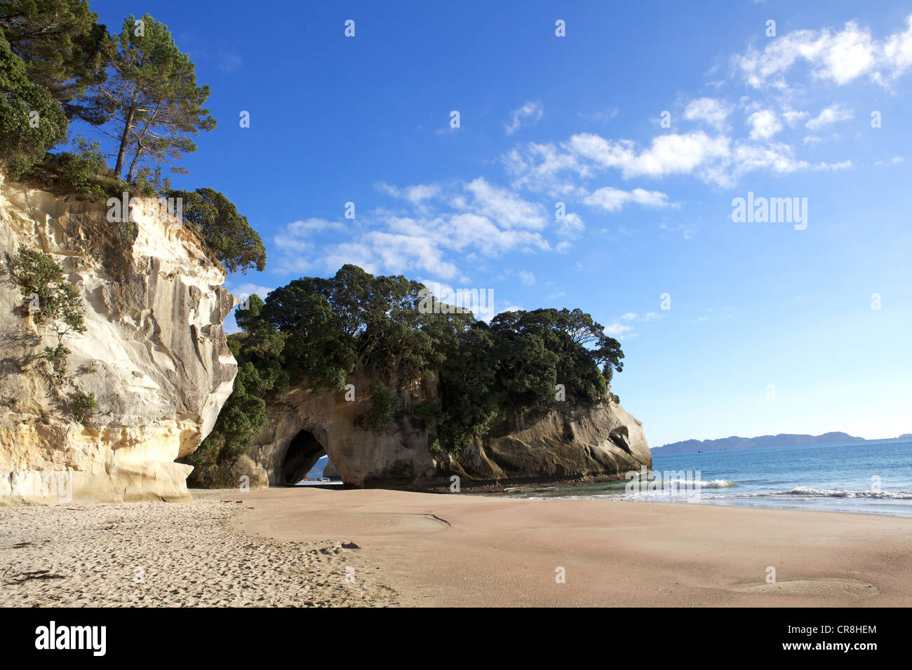 Te Whanganui A Hei Cathedral Cove New Zealand Stock Photo