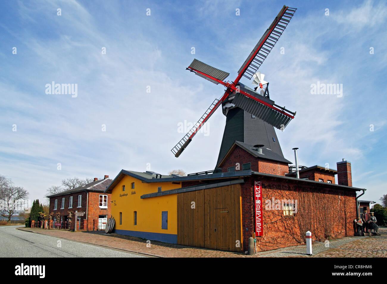 Riepenburger Muehle Boreas windmill in dutch style, Kirchwerder, Vierlande, Vier- und Marschlande, Hamburg, Germany - Stock Image