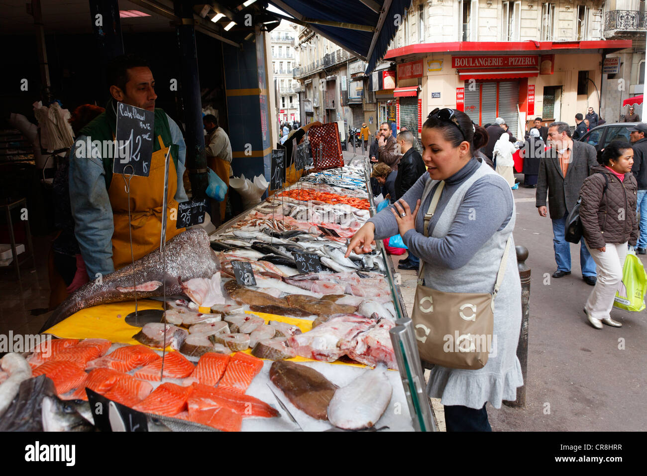 France, Bouches du Rhone, Marseille, fishmonger on Capucins market square - Stock Image