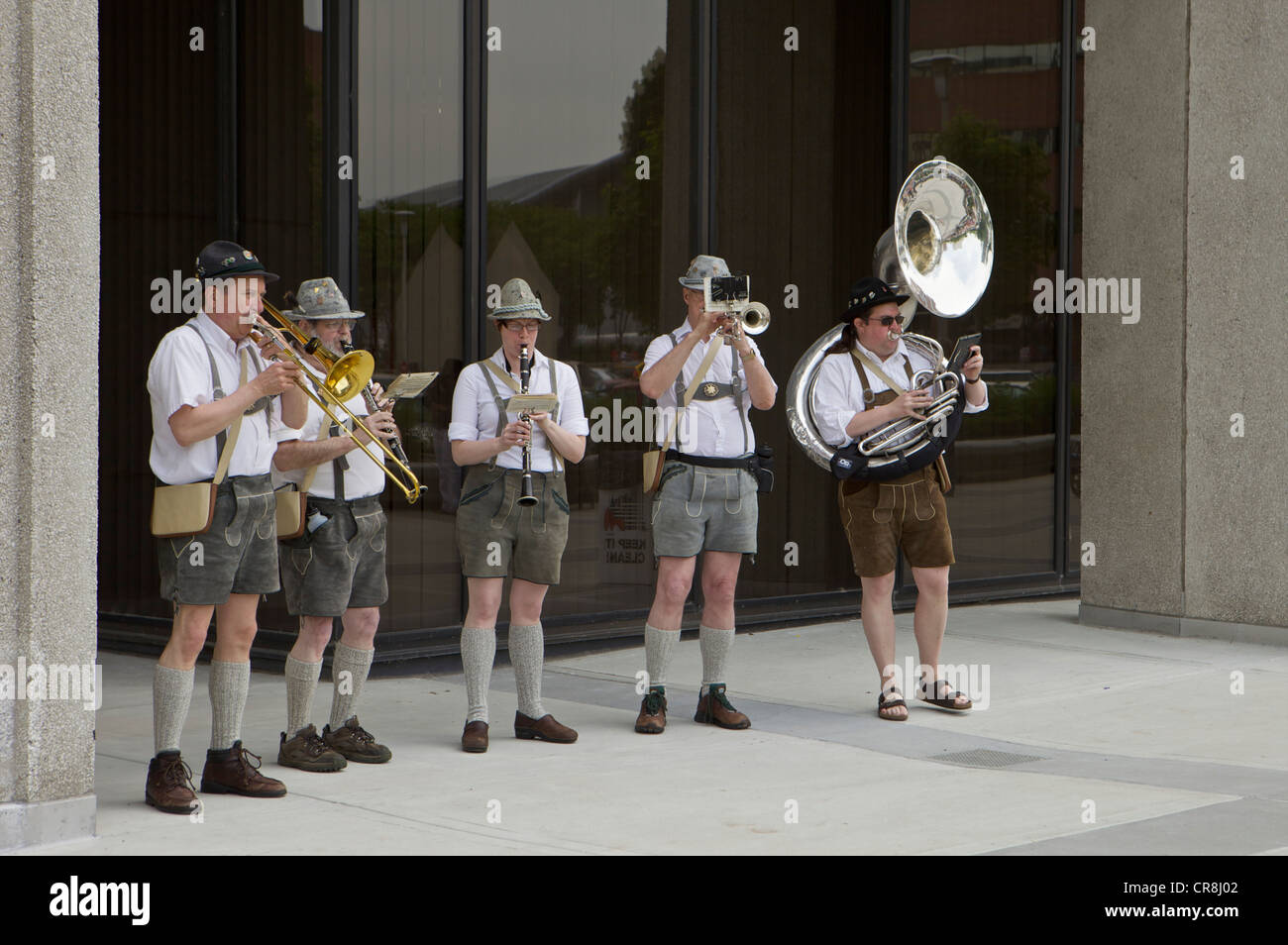 Lederhosen Oompah band playing at the Grand Rapids Festival of the Arts - Stock Image