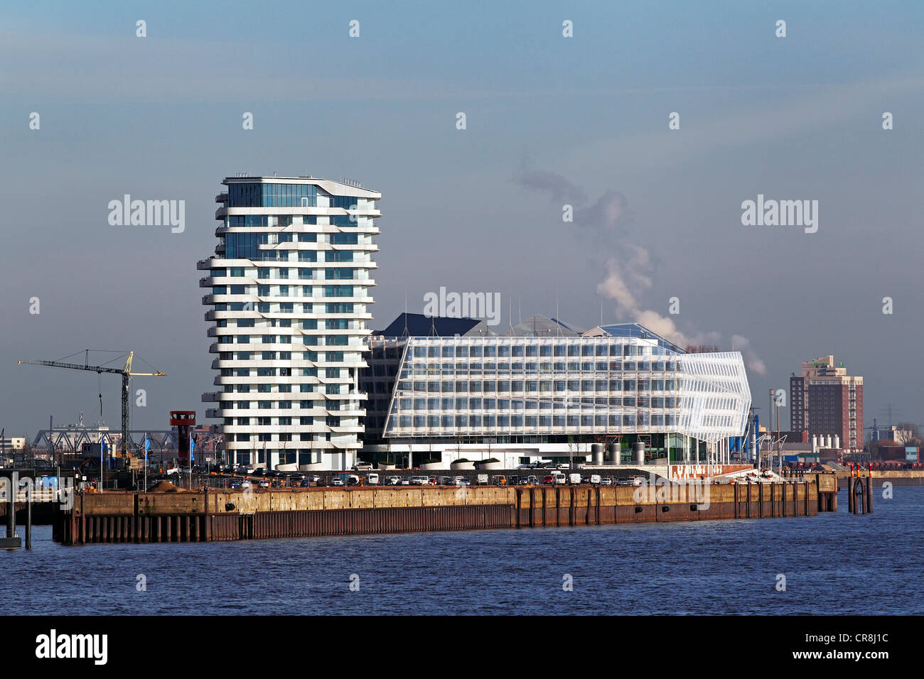 Modern architecture, Marco Polo Tower and Unilever Centre in HafenCity, Port of Hamburg, Hanseatic City of Hamburg Stock Photo