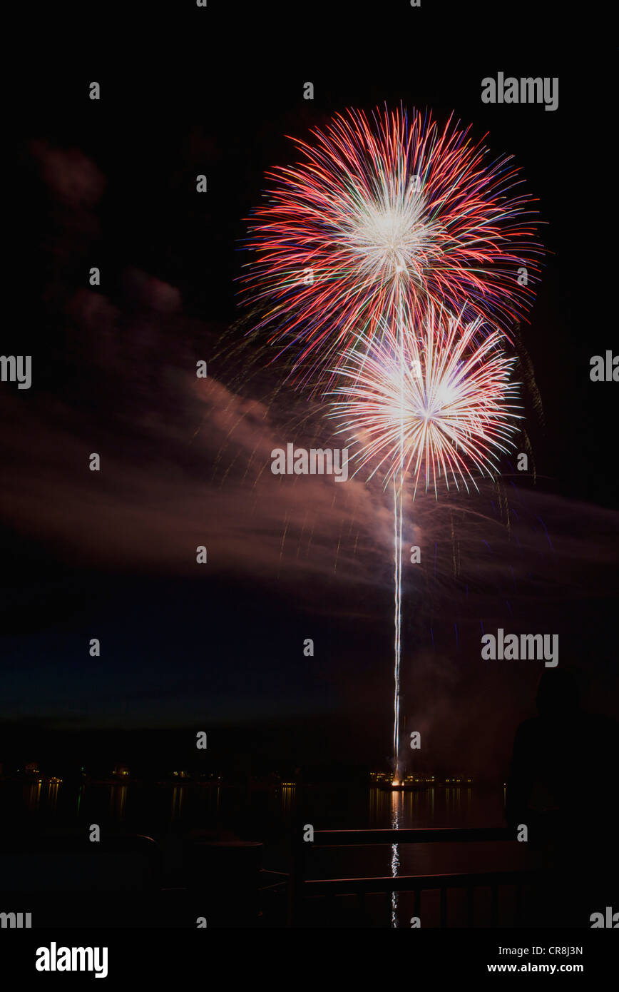 Red White and Blue fireworks bursts - Stock Image