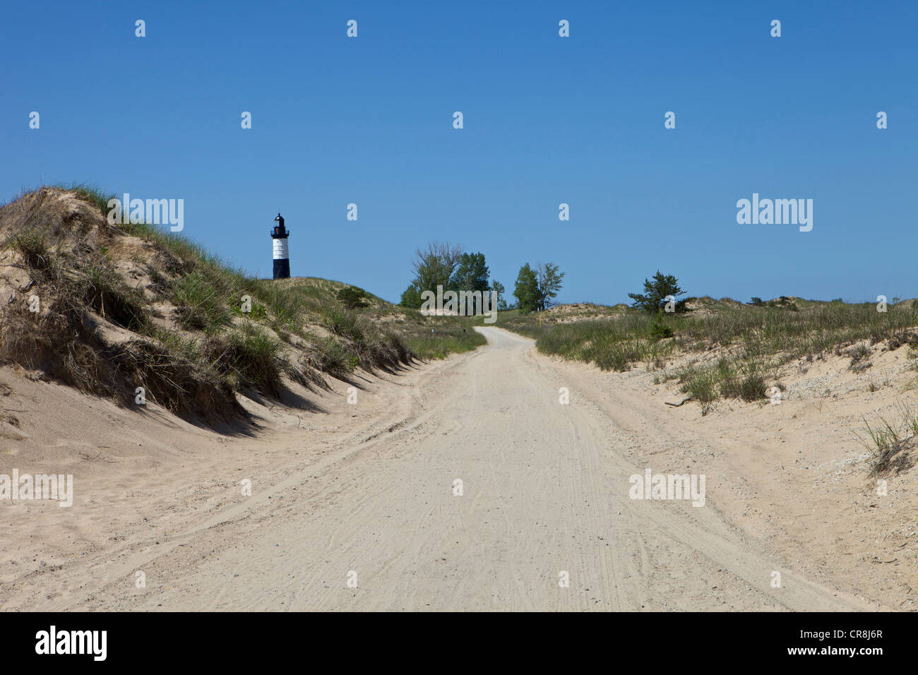 Sandy road leading to Big Sable Point Lighthouse - Stock Image