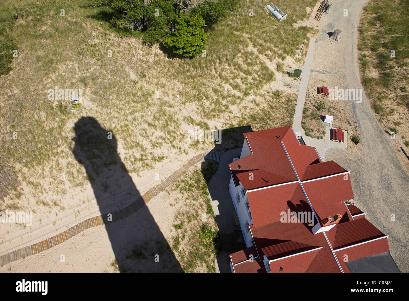 Big Sable Point Lighthouse shadow seen from the top of the lighthouse - Stock Image