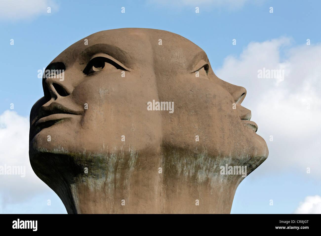 Sculpture, Blik van Licht, Look of Light, by Charles Delporte, depiction of the head of Janus, Damme, West Flanders, - Stock Image