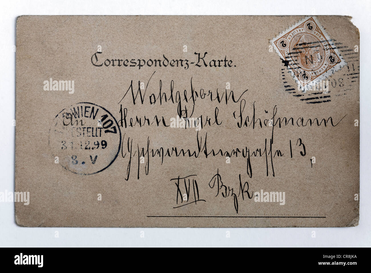 Historical postcard with address and stamp from the era of the Austrian Empire, Vienna, Austria, postmarked 1899 - Stock Image