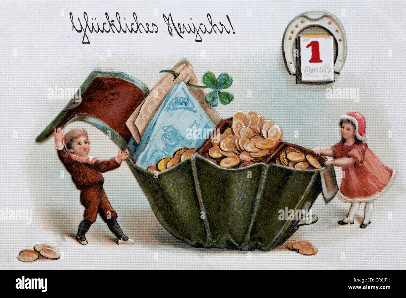 Happy New Year, children opening a purse filled with money, historical postcard, circa 1900 - Stock Image