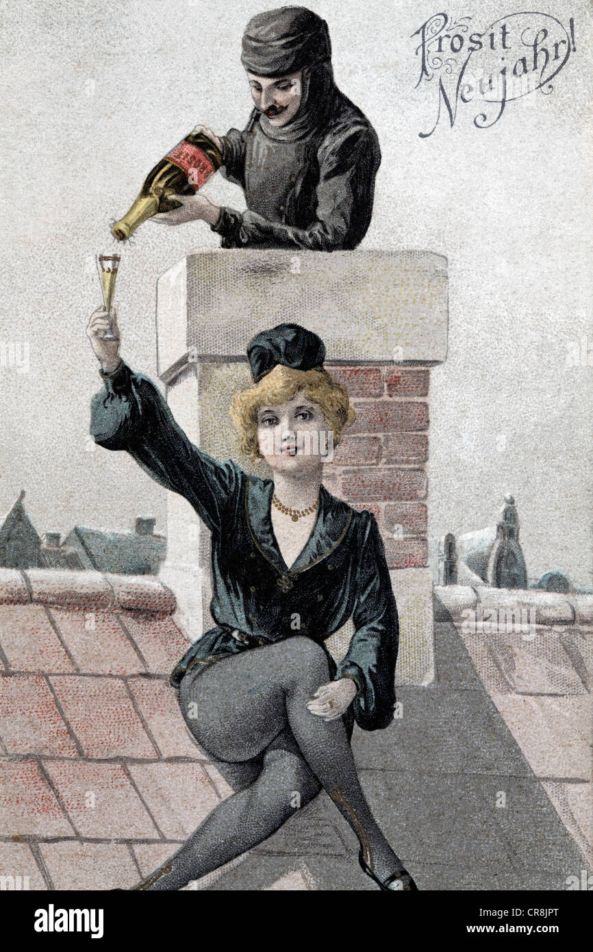 Happy New Year, male chimney pouring Champagne into female chimney sweep's glass, historical postcard, circa - Stock Image