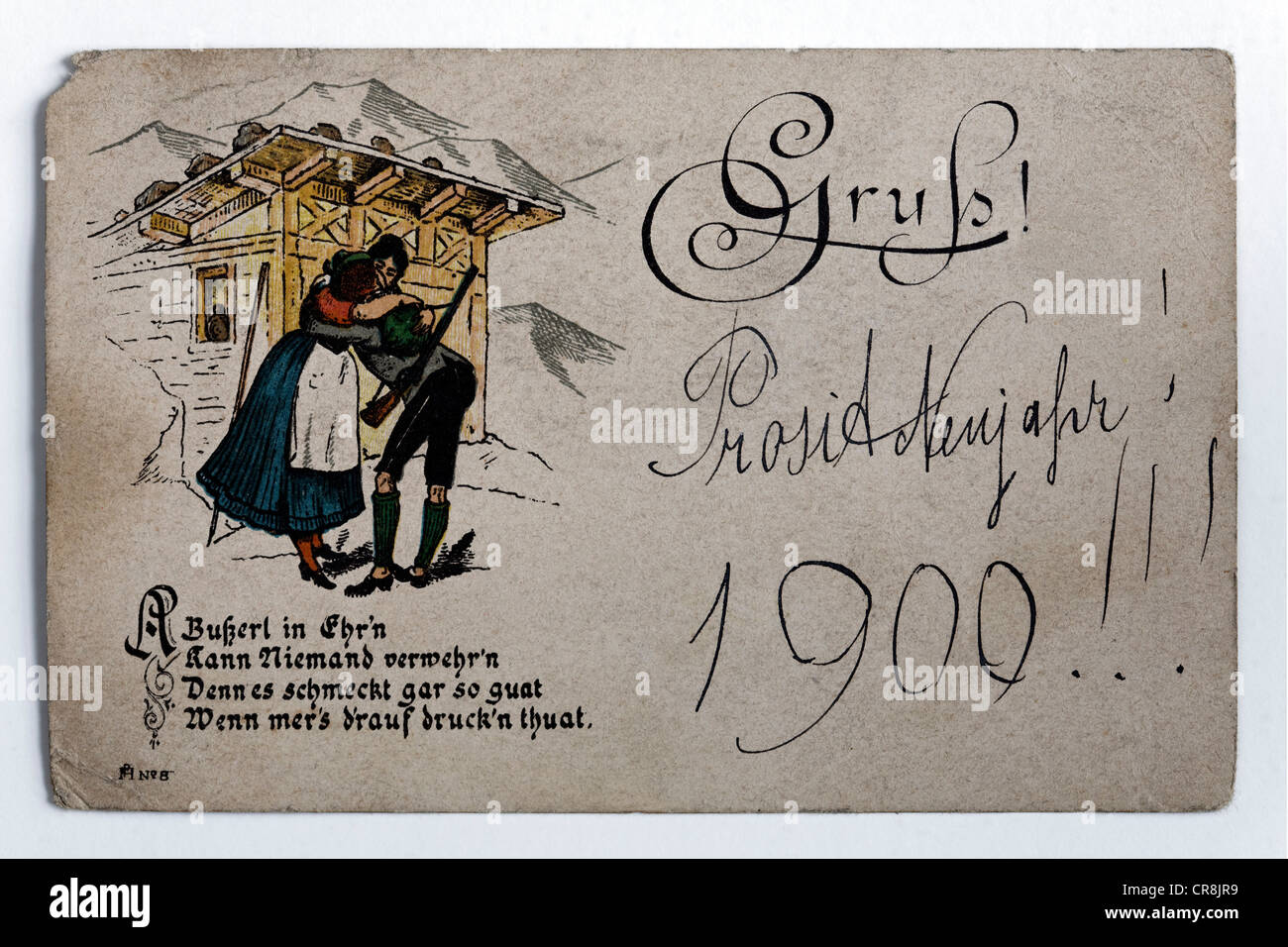 Happy New Year 1900, historic postcard of a kissing couple in front of an alm hut with slogan, Austria - Stock Image