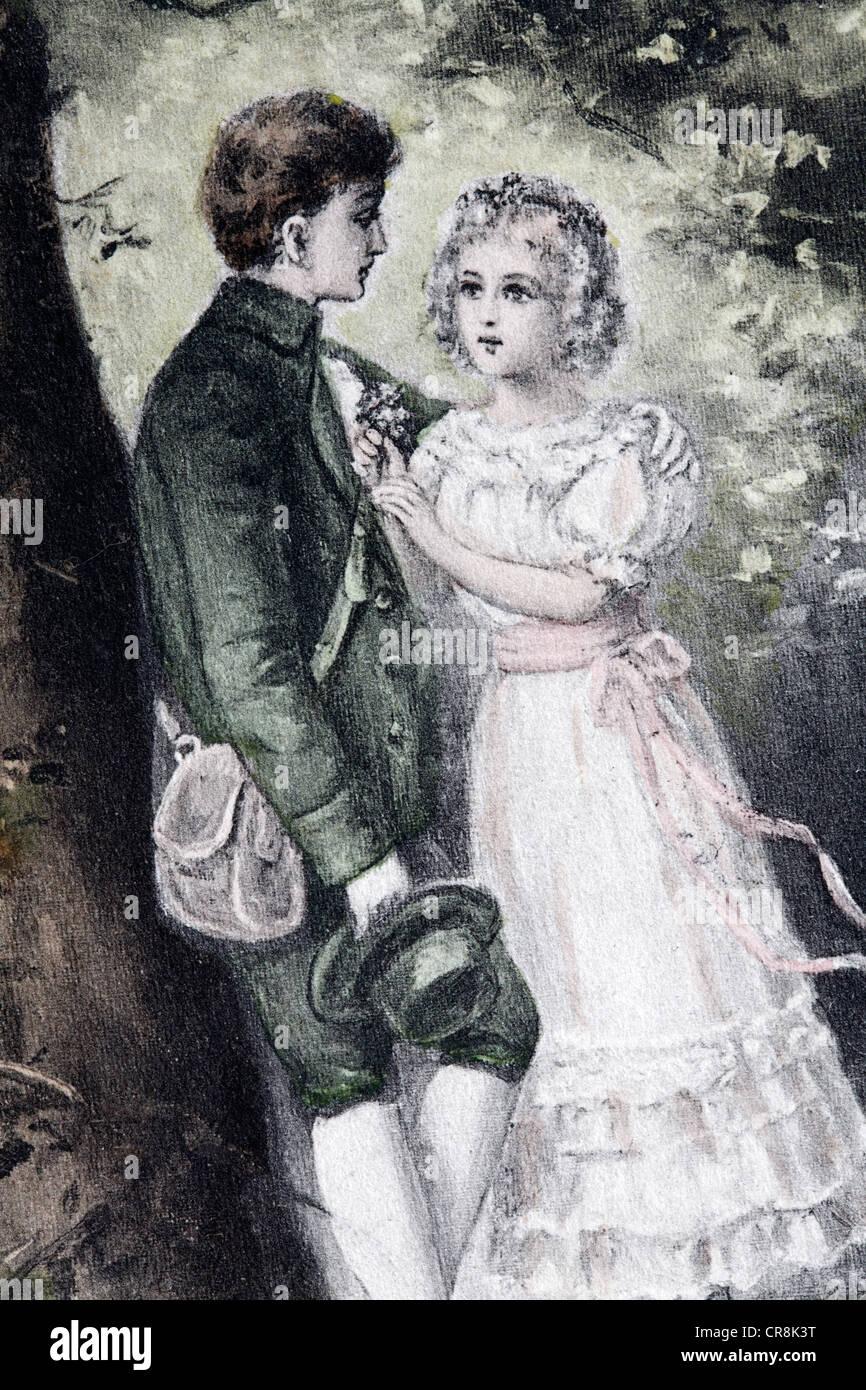Romantic couple, historic postcard, around 1900, kitsch - Stock Image