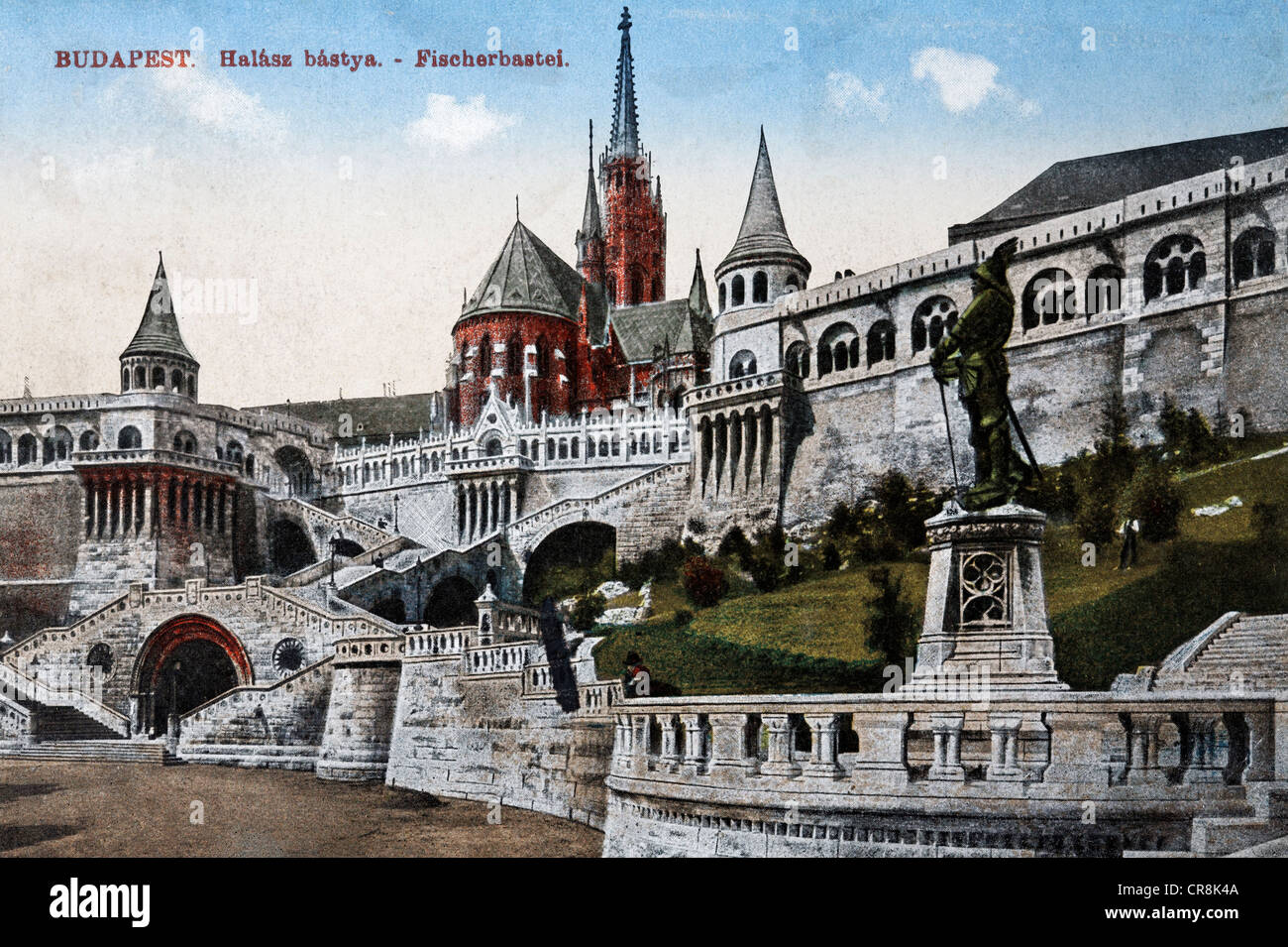 Halászbástya or Fisherman's Bastion in Budapest, Hungary, historic postcard, around 1900 - Stock Image