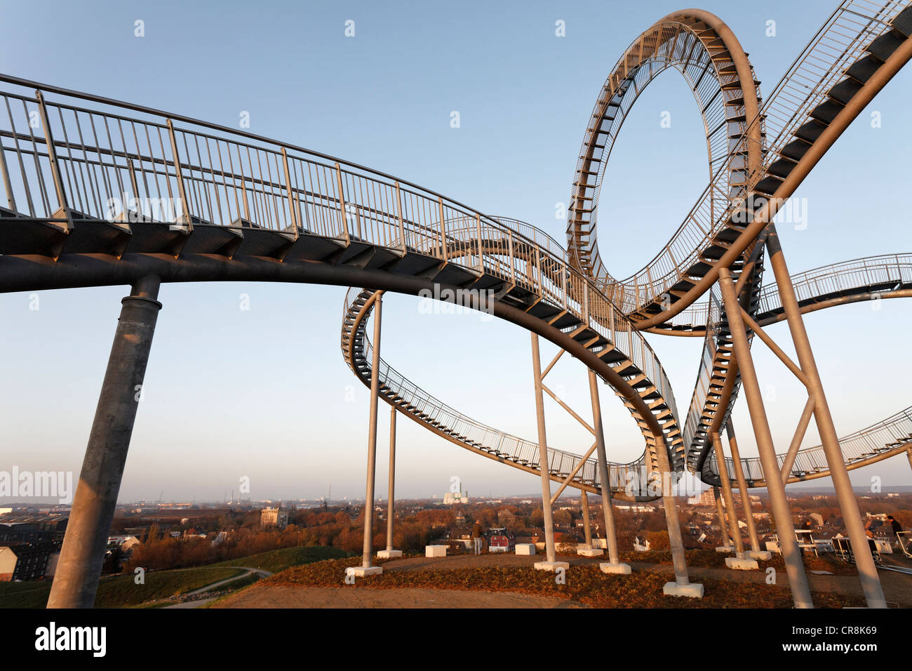 Tiger & Turtle - Magic Mountain sculpture, landmark, walkable sculpture in the Angerpark, roller coaster-shaped, - Stock Image