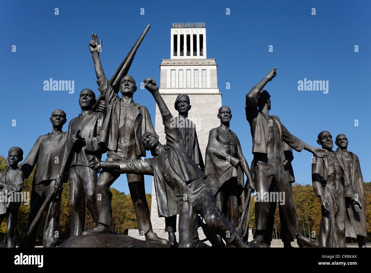 Resistance fighters, group of statues by Fritz Cremer, monument on Ettersberg mountain, Gedenkstaette Buchenwald - Stock Image