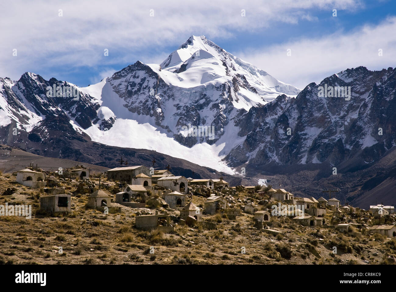 view of the huayna potosi from the cemetery of milluni - Stock Image