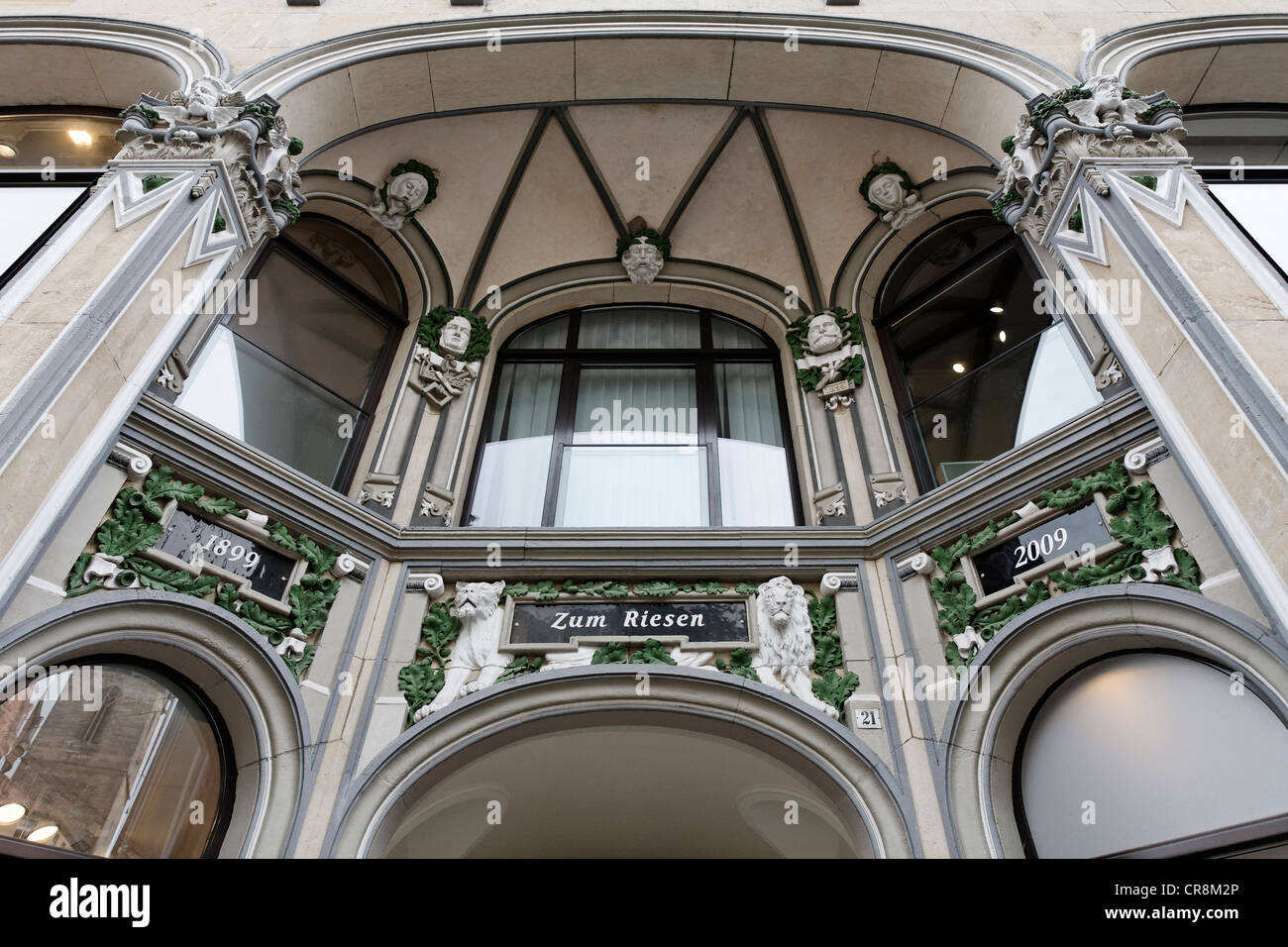 Entrance to the 'Haus zum Riesen' office and commercial building, art nouveau facade, Anger, Erfurt, Thuringia, - Stock Image