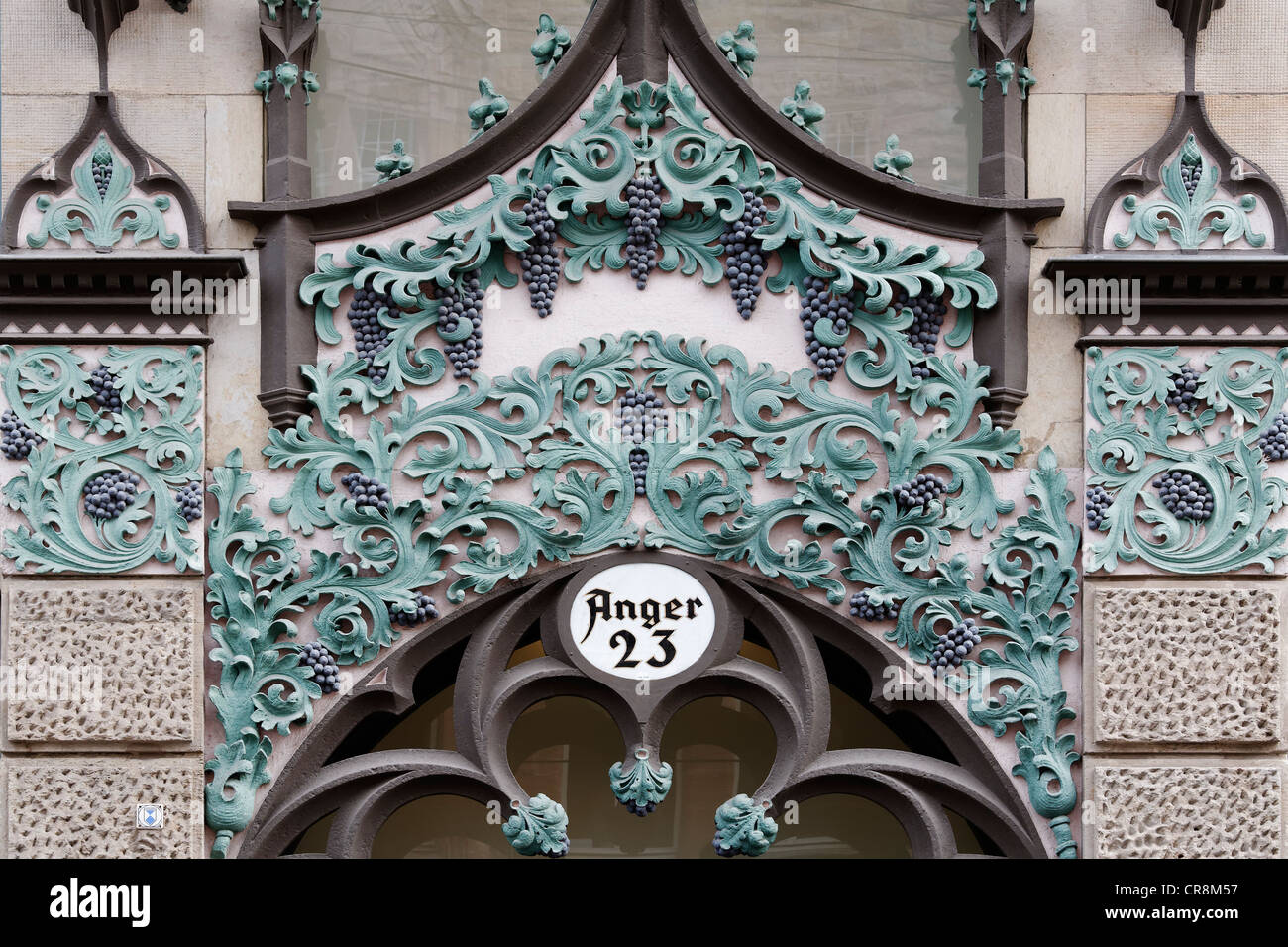 Anger 23 commercial building, art nouveau facade, portal decorated with vine leaves, Erfurt, Thuringia, Germany, - Stock Image