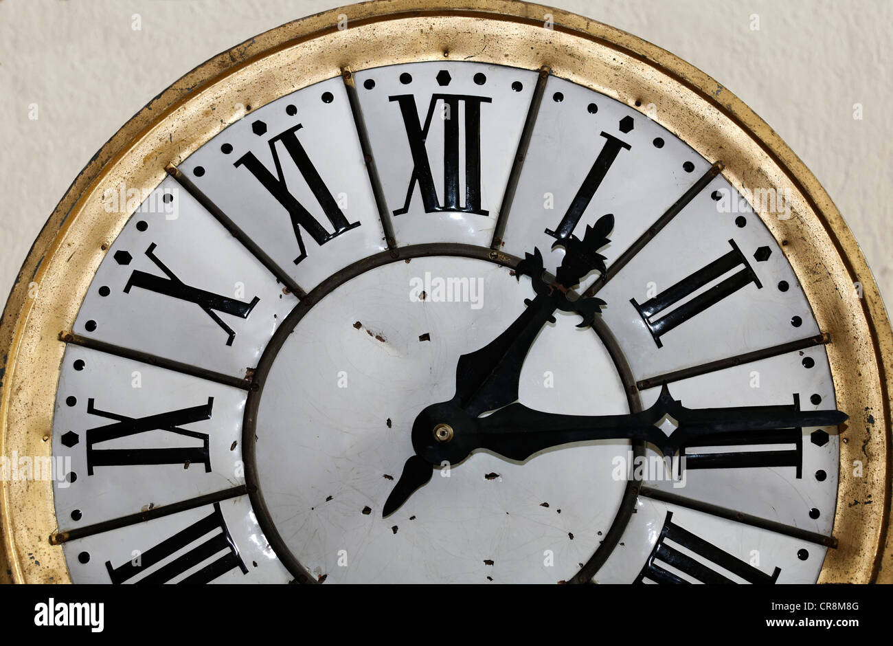 Dial with Roman numerals, historic clock, Museum Kasteel Hoensbroek, Limburg, The Netherlands, Europe - Stock Image