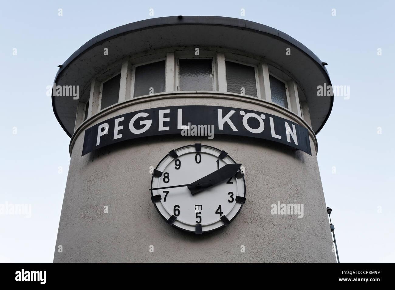 Level Cologne, clock with water level indicator, North Rhine-Westphalia, Germany, Europe - Stock Image