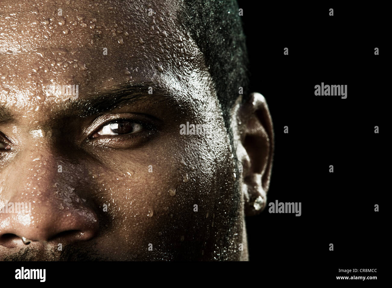 Boxer with sweaty face, close up Stock Photo